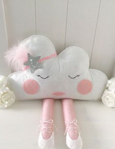 This cloud cushion will look super cute sitting on a little girls bed or shelf. She is a sassy little madam with her sparkly headband and ballerina shoes. She is completely hand cut from felt. Her fa(Diy Pillows Cloud) Cloud Cushion personalised pillow - Baby Crafts, Felt Crafts, Diy And Crafts, Little Girl Beds, Cute Little Girls, Sewing Crafts, Sewing Projects, Cloud Cushion, Baby Mobile