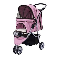 Giantex Three Wheel Pet Stroller Cart Cat Dog Foldable Carrier Travel Jogger 5 Color Pink *** Read more reviews of the product by visiting the link on the image.