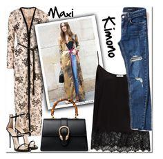 """The Maxi Kimono"" by arethaman ❤ liked on Polyvore featuring Jaded, Equipment, Giuseppe Zanotti, Gucci, GetTheLook, tophandlebag, maxikimono, outfitformula and slipcami"