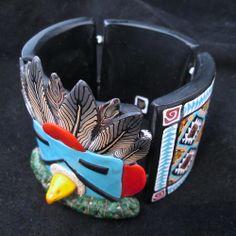 Eagle Kachina bracelet - polymer clay art jewelry by Deb Hart