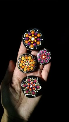 Magnetic Clip _ Slate Painted Stone_Lavender Purple & Tangerine Flower Mandala_ Hand Painted Dot Art _School Locker Decor by P4MirandaPitrone on Etsy