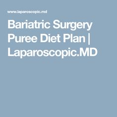 Bariatric Surgery Puree Diet Plan | Laparoscopic.MD
