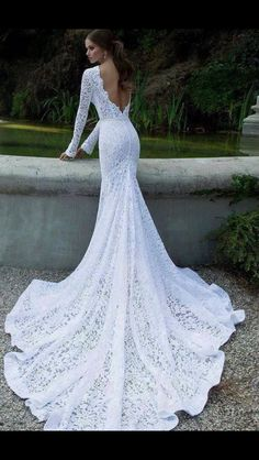 Lace wedding gown, wedding dress, so beautiful, train, I'm in love!