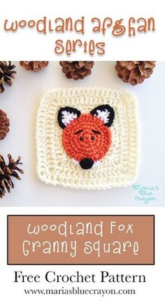 Woodland Fox Granny Square | Woodland Afghan Series | Free Crochet Pattern | Fox Applique and Granny Square | Woodland Themed