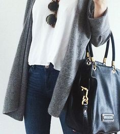 #street #style / gray cardigan + denim