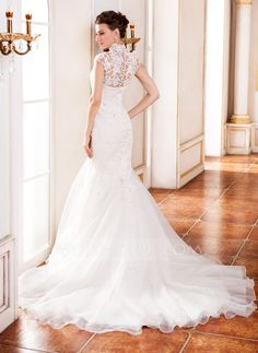 Trumpet/Mermaid High Neck Cathedral Train Organza Wedding Dress With Lace Beading Sequins (002055081) - JJsHouse