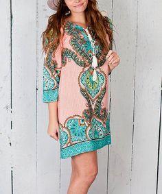 Look at this #zulilyfind! Orange & Teal Arabesque Shift Dress #zulilyfinds