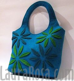 Turquoise Flowers Felt Bag by LauraRosa on Etsy, $45.00