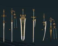 Fuck Yeah Chinese Fashion — moonbeam-on-changan: Weapon concept designs of. Fantasy Sword, Fantasy Weapons, Armor Concept, Weapon Concept Art, Larp, Character Art, Character Design, Cool Swords, Sword Design