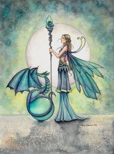 Fairy and Fantasy Art by Molly Harrison - Aquamarine Dragon