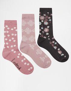 Image 1 ofLovestruck 3PK Purple Floral Ankle Socks