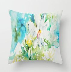 Daisy doodle in Watercolor PILLOW white bright by CheyAnneSexton