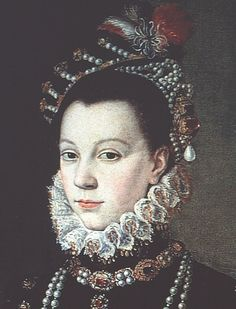 1565 Elisabeth de Valois by Sofonisba Anguissola  Jeweled hat, ruff, and carcanet necklace.  A jeweled and feathered cap over a jeweled escoffion headdress, highlighted by a dangling pear drop pearl, and the carcanet necklace so characteristic of the era.