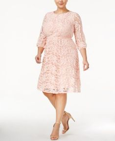 a375b2cfc58 ING Trendy Plus Size Lace A-Line Dress Plus Sizes - Dresses - Macy s