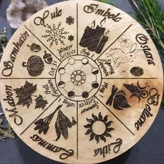 Sabbat Wheel of the year Pagan/Witch calendar crystal grid altar tile Pagan Art, Pagan Witch, Pagan Decor, Wood Burning Crafts, Wood Burning Art, Samhain, Mabon, Witchcraft, Magick
