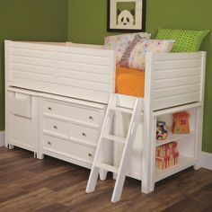 Kids Room : White Lacquered Wood Loft Bed With Drawer With Brown Wooden Laminate Flooring Also Green Paint On The Wall And Orange Pattern Bed Linen Besides Colorful Flower Pillow Equipping Your Kids Space With A Fashionable Loft Bed Twin Loft Bed Designs. Childrens Loft Bed With Slide And Tent. Twin Loft Bed Ideas.