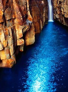 Beautiful waterfall into a sapphire pool - Kimberley coast gorge, Western Australia Places Around The World, Oh The Places You'll Go, Places To Travel, Around The Worlds, Vacation Places, Beautiful World, Beautiful Places, Beautiful Joe, Beautiful Pictures