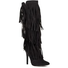Justfab Heeled Boots Reggie ($40) ❤ liked on Polyvore featuring shoes, boots, apparel & accessories, black, high heels 4-4.75, black fringe boots, black knee-high boots, black knee high heel boots, tall fringe boots and black stilettos