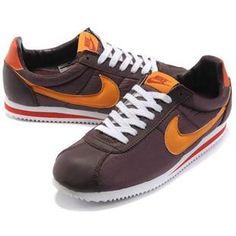Men Nike Cortez Oxford Cloth Shoes Orange Brown