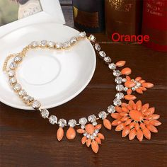 Crystal Bib Statement Necklace Jewelry by Attractivenecklace, $14.80