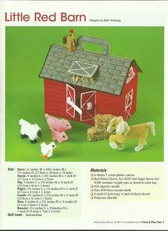 Little red barn Plastic Canvas Crafts, Plastic Canvas Patterns, Barn Animals, Heart Canvas, Pine Cone Crafts, Yarn Bombing, Little Red, Toys For Boys, Doll Accessories