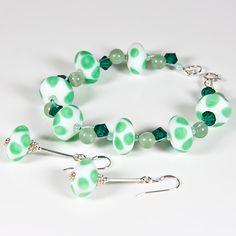 Green bracelet & earrings set, Lampwork gemstone & Swarovski, Secret Santa £17.00