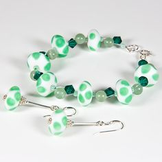 Green bracelet & earrings set, Lampwork gemstone & Swarovski, Secret Santa £17.00