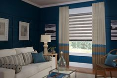 Allure® Transitional Shades, Interior Masterpieces® Board Mounted Color Block Draperies, and pillows | by Lafayette Interior Fashions