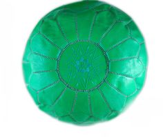 Image of Handmade Moroccan Leather Pouf, GREEN
