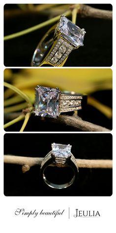Jeulia Emerald Cut Created White Sapphire Engagement Ring #Jeulia