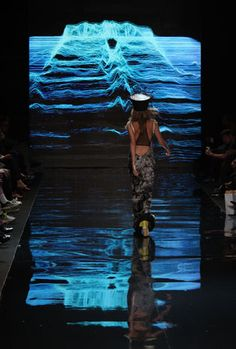 Mostly black, the show for Diesel Black Gold in the Bryant Park tents utilized lighting and projections to highlight the...
