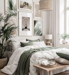 Sage Green Bedroom, Green Rooms, Room Ideas Bedroom, Home Decor Bedroom, Green Bedroom Decor, Gallery Wall Bedroom, Bedroom Ideas For Couples Cozy, Wall Art Bedroom, Bedroom Frames