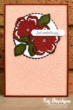 Stampin' Up!   Summer shadows dies   Just wanted to say card   Sale-a-bration 2021   card by Ros Davidson, Stampin' Up! demonstrator Melbourne Australia Stampin Up Catalog, Card Making Inspiration, Flower Cards, Stampin Up Cards, Cardmaking, Birthday Cards, Melbourne Australia, Greeting Cards, Rose