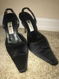 6a5b0b7643a Details about JIMMY CHOO Pointy Toe Stilettos Heels Sling back Black Silk