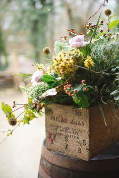 Arrangement in an antique wooden box. Lovely! Ulster American folk Park wedding shoot | Paula O'Hara Photography
