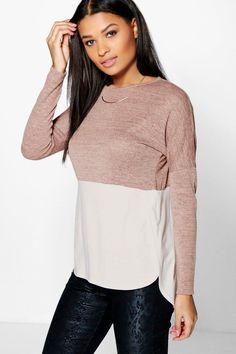 camiseta extragrande con piezas de punto y manga larga rosie