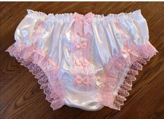 Bridal White Satin Bikini Style Girly Panties - ultra Feminine Sissy Knickers - Made to Order - Medium up to XXL White Satin, Pink Satin, Pink Lace, Silk Knickers, Rose Gold Ribbon, Pink Sparkly, Christmas Gifts For Women, Lingerie Collection, Girl Costumes