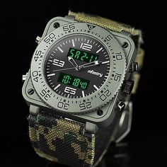 INFANTRY Mens Digital LCD Military Sport Rubber Wrist Watch +Extra Leather +Tool