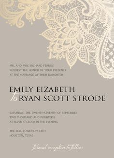 Digital Wedding Invitation - Romantic lace, formal wedding, floral, beige, gold, white by SimplyLoveLeeDesigns on Etsy https://www.etsy.com/listing/223841533/digital-wedding-invitation-romantic-lace