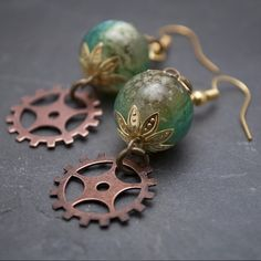 Green Meteor Steampunk Earrings
