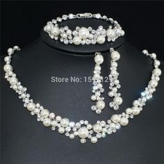 Wholesale Fashion Silver Color Crystal Pearl Wedding Costume Jewelry Sets Necklace Earrings for women Bridal