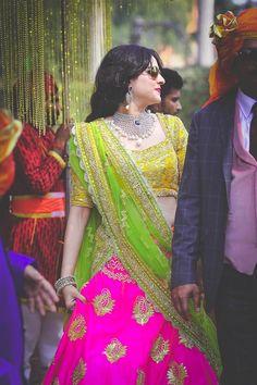 Looking for pink and yellow lehenga? Browse of latest bridal photos, lehenga & jewelry designs, decor ideas, etc. on WedMeGood Gallery. Pakistani Dresses, Indian Dresses, Indian Outfits, India Fashion, Ethnic Fashion, Women's Fashion, Fashion Outfits, Mehendi, Yellow Lehenga