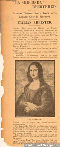 A British newspaper cutting from December 1913, reporting the discovery of the painting in Florence.