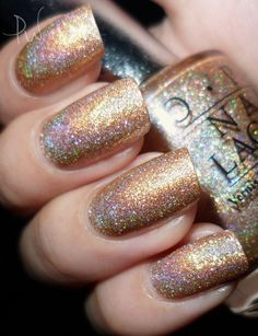 OPI: DS Shimmer (JP) | Great for Thanksgiving, Christmas or New Year's. Love the iridecense and depth of the gold shimmer.