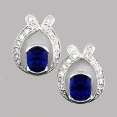 Tanzanite and Diamond Horseshoe Earrings. Gorgeous, intense cornflower blue Tanzanite ovals with a ribbon of twinkling Diamonds set in a horseshoe shaped stud earring. Genteel and very pretty. Rare Gemstones, Natural Gemstones, Tanzanite Earrings, Stud Earrings, Horseshoe Earrings, Designer Earrings, White Gold Diamonds, Gemstone Jewelry, Jewelry Collection