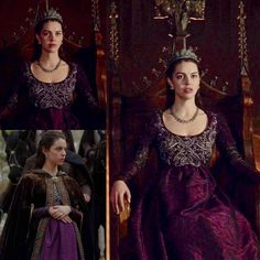 Mary wears this purple dress on Reign Mary Stuart, Adelaide Kane, Renaissance Dresses, Medieval Dress, Medieval Fashion, Medieval Clothing, Isabel Tudor, Reign Tv Show, Reign Mary