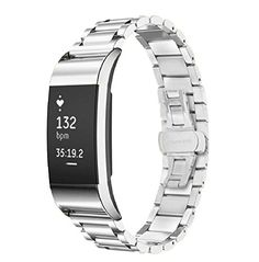 Fitbit Charge 2 Wrist Band,Shangpule Stainless Steel Metal Replacement Smart Watch Band Bracelet with Double Button Folding Clasp for Fitbit Charge 2 (Silver)