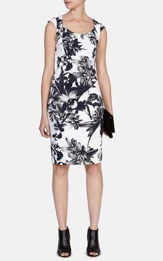 Robe à imprimé floral noir et blanc