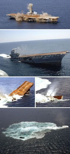 Sinking the former USS Oriskany (CV-34) off the coast of Florida, May 2006 to become the world's largest artificial reef.
