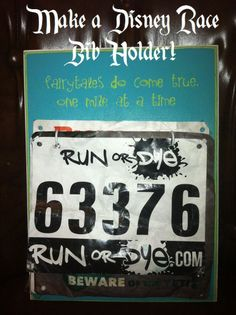 Make a Disney Race Bib Holder - perfect for runners!  You can customize it with any colors or saying you want and use it to hold the bibs from all of your RunDisney events!